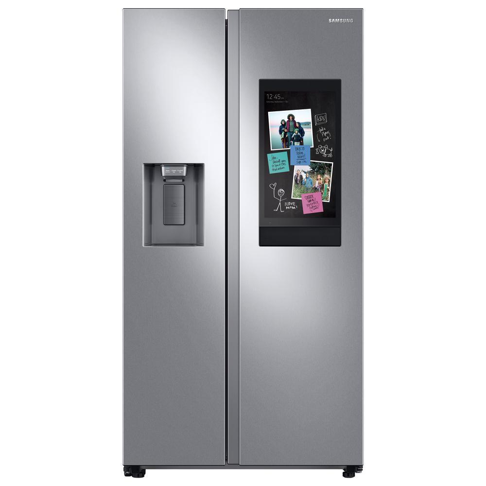 21.5 cu. ft. Family Hub Side by Side Smart Refrigerator in Fingerprint Resistant Stainless Steel, Counter Depth
