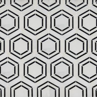 Georama Nero 13 in. x 11 in. x 10mm Polished Marble Mesh-Mounted Mosaic Tile (0.99 sq. ft.)
