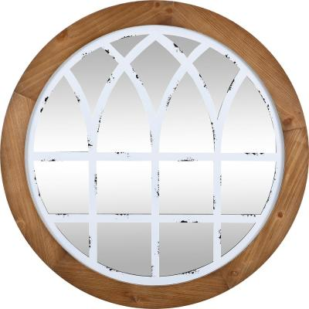 Medium Round Rustic Brown Contemporary Mirror (30 in. H x 1.1 in. W)