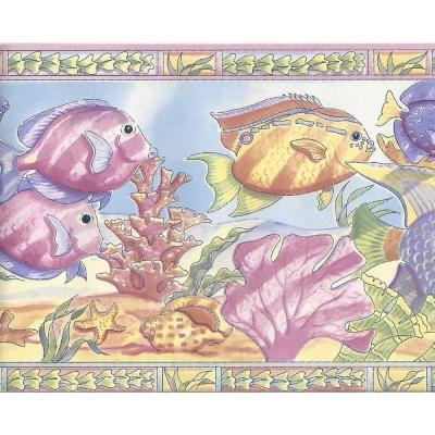Falkirk Brin Fish, Coral Purple, Blue Wallpaper Border