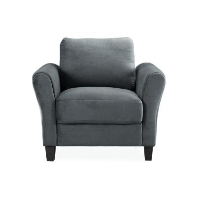 Wesley Microfiber Chair with Rolled Arm in Dark Grey