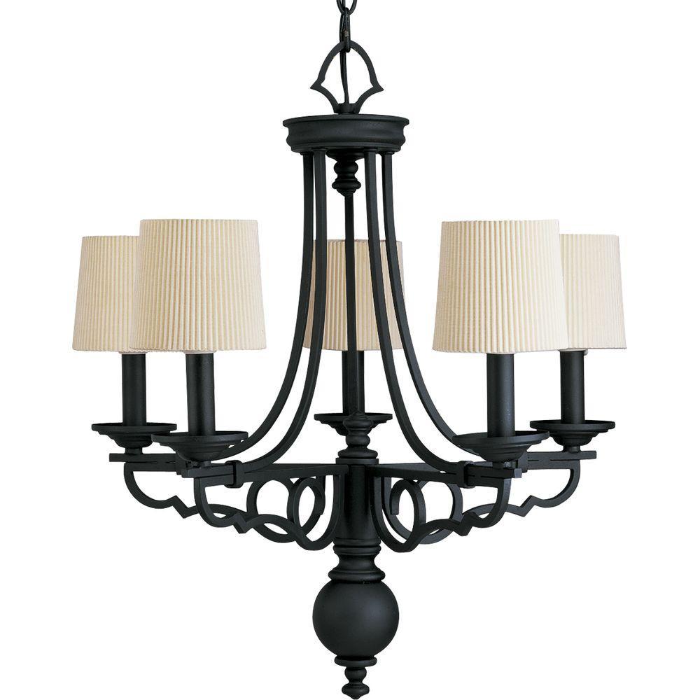 Progress Lighting Meeting Street Collection 5-Light Forged Black Chandelier
