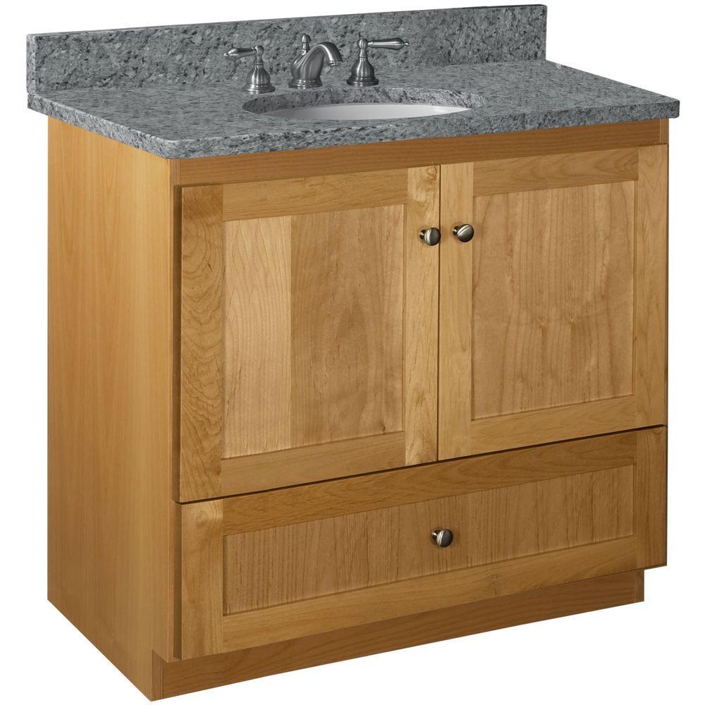 Shaker 36 in. W x 21 in. D x 34.5 in. H Vanity with No Side Drawers Cabinet Only in Natural Alder