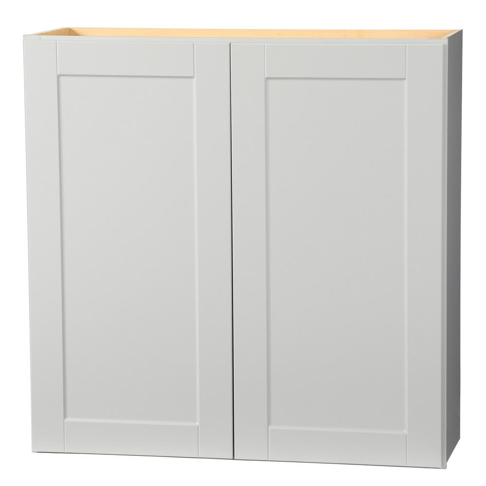 Hampton Bay Shaker Assembled 36x36x12 In Wall Kitchen Cabinet In Dove Gray Kw3636 Sdv The