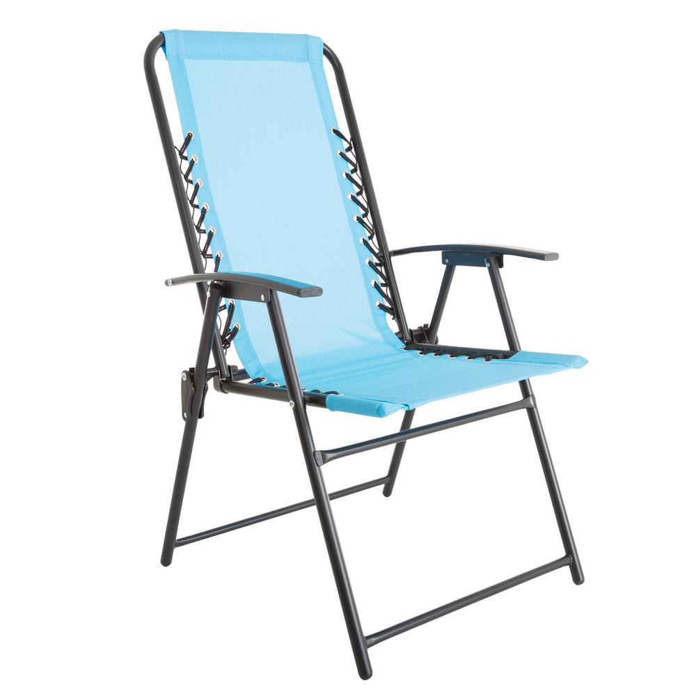 pure garden patio lawn chair in blue m150119 the home depot. Black Bedroom Furniture Sets. Home Design Ideas