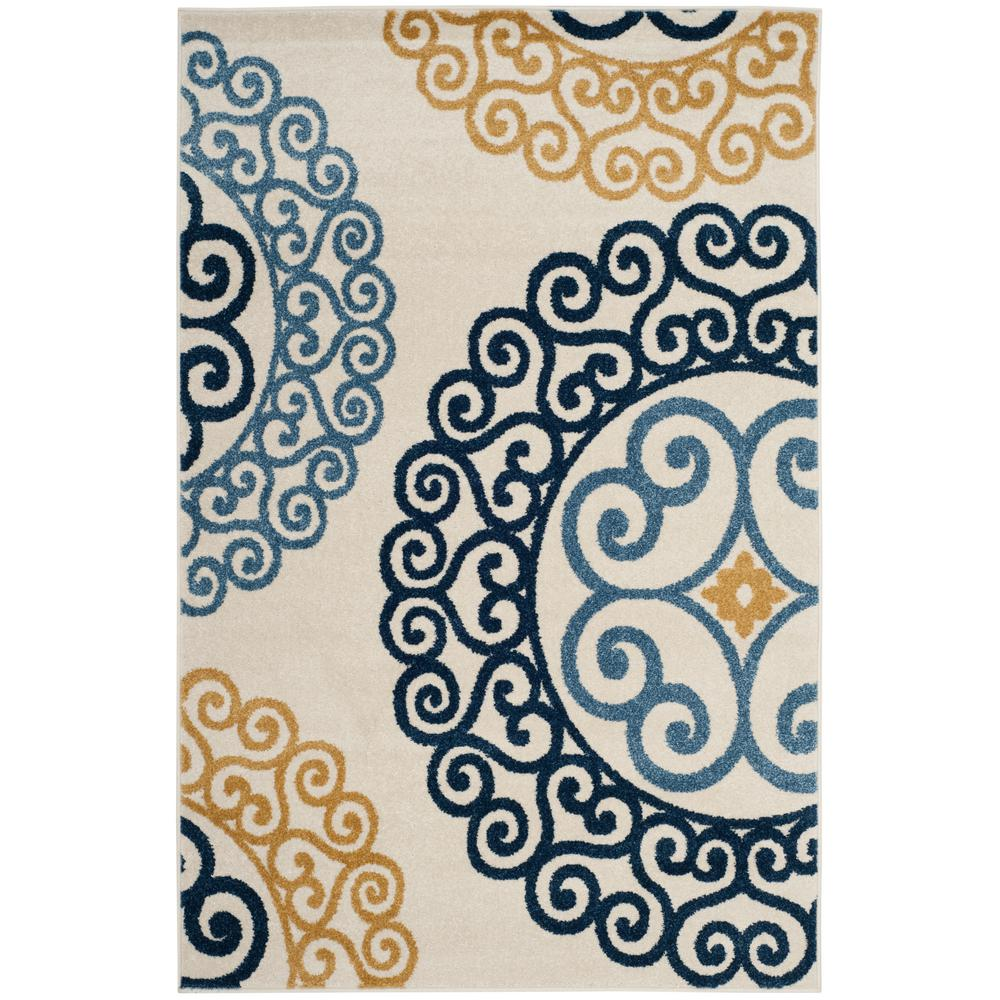 Amherst Ivory/Gold 4 ft. x 6 ft. Indoor/Outdoor Area Rug