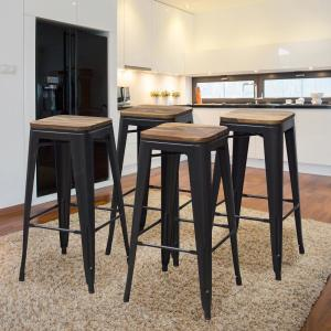 Fabulous Amerihome 30 In Black Bar Stool Set With Rosewood Top 4 Cjindustries Chair Design For Home Cjindustriesco