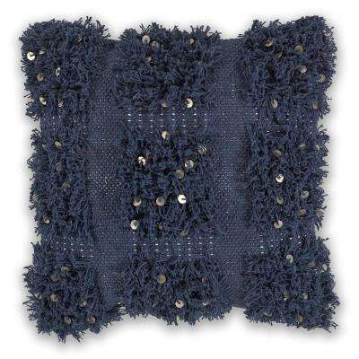 Navy Boho 18 in. x 18 in. Decorative Pillow