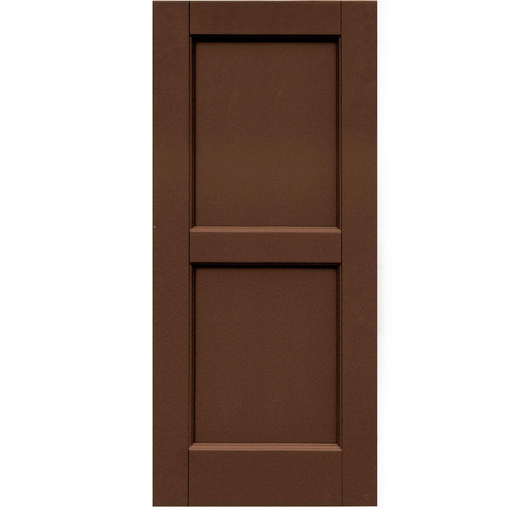 Winworks Wood Composite 15 in. x 34 in. Contemporary Flat Panel Shutters Pair #635 Federal Brown