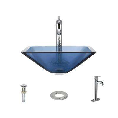 Glass Vessel Sink in Aqua with 718 Faucet and Pop-Up Drain in Chrome