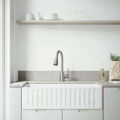 All-in-One Farmhouse Matte Stone 36 in. Single Bowl Kitchen Sink with Graham Faucet in Stainless Steel