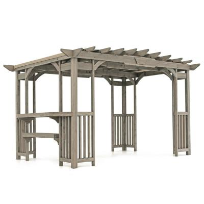 10 ft. x 14 ft. Madison Pergola with Bar and Sunshade