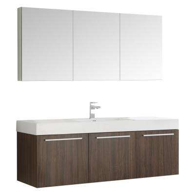 Vista 59 in. Vanity in Walnut with Acrylic Vanity Top in White with White Basin and Mirrored Medicine Cabinet