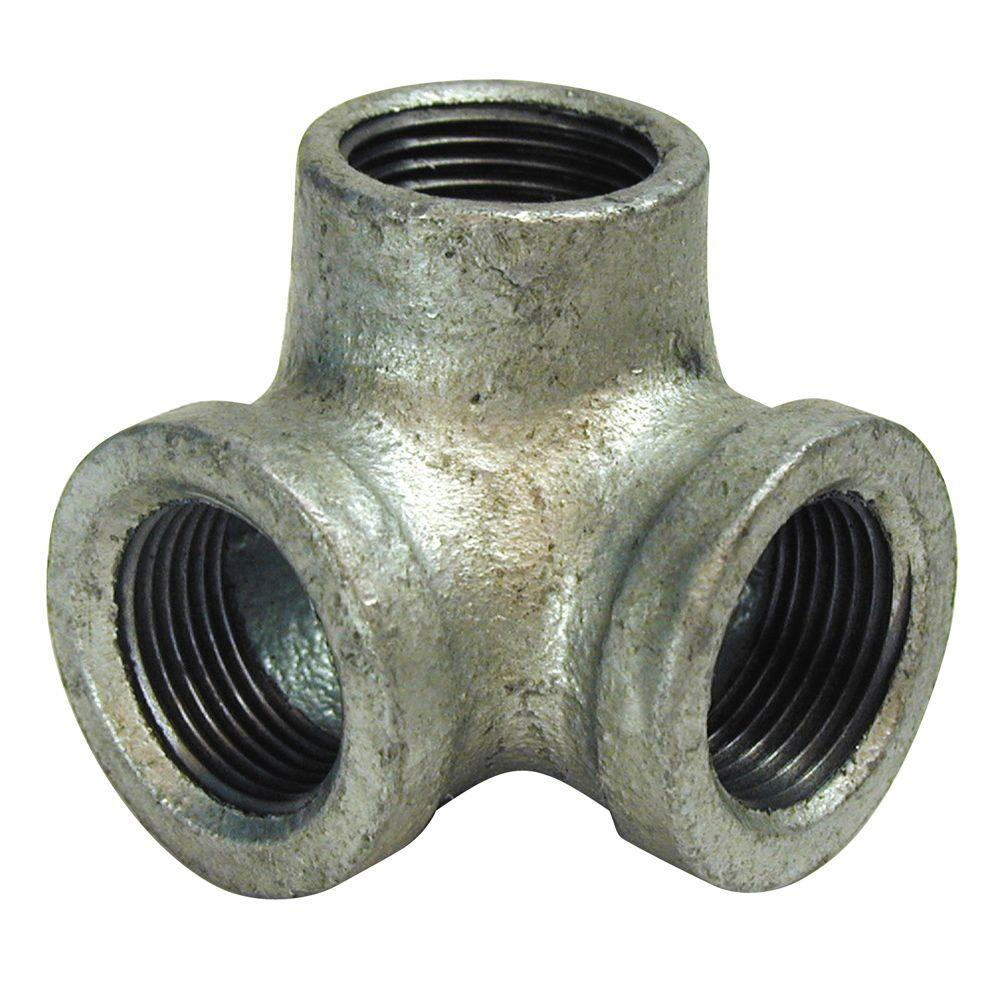 """1//2 3//4/"""" 1/"""" 3 Way Pipe Fitting Connector Malleable Iron Galvanized Elbow Tee Fem"""