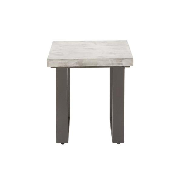 Litton Lane White Concrete Rectangular End Table With Gray Legs