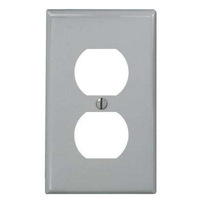 1-Gang Standard Size Nylon Duplex Device Receptacle Wall Plate, Gray