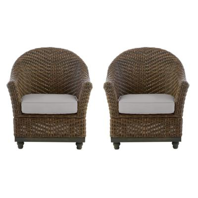 Camden Dark Brown Wicker Outdoor Porch Lounge Chair with CushionGuard Stone Gray Cushions (2-Pack)