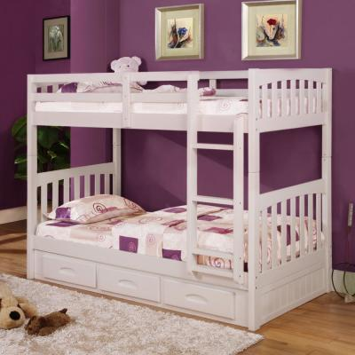 White Twin over Twin Solid Pine Bunkbed with 3-Drawer Underbed Storage