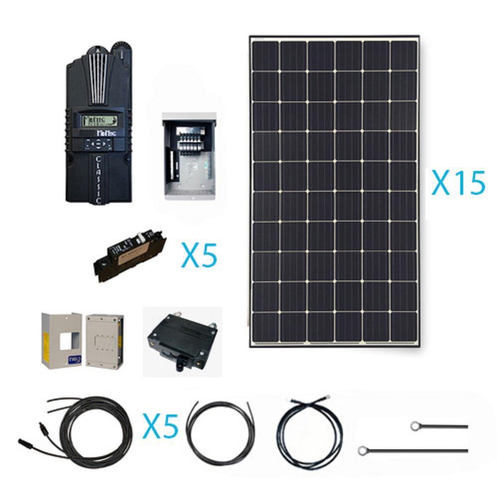 4500-Watt 48-Volt Monocrystalline Solar Cabin Kit for off-grid solar system
