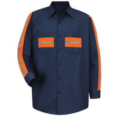 Men's Large Navy with Orange Visibility Trim Enhanced Visibility Shirt