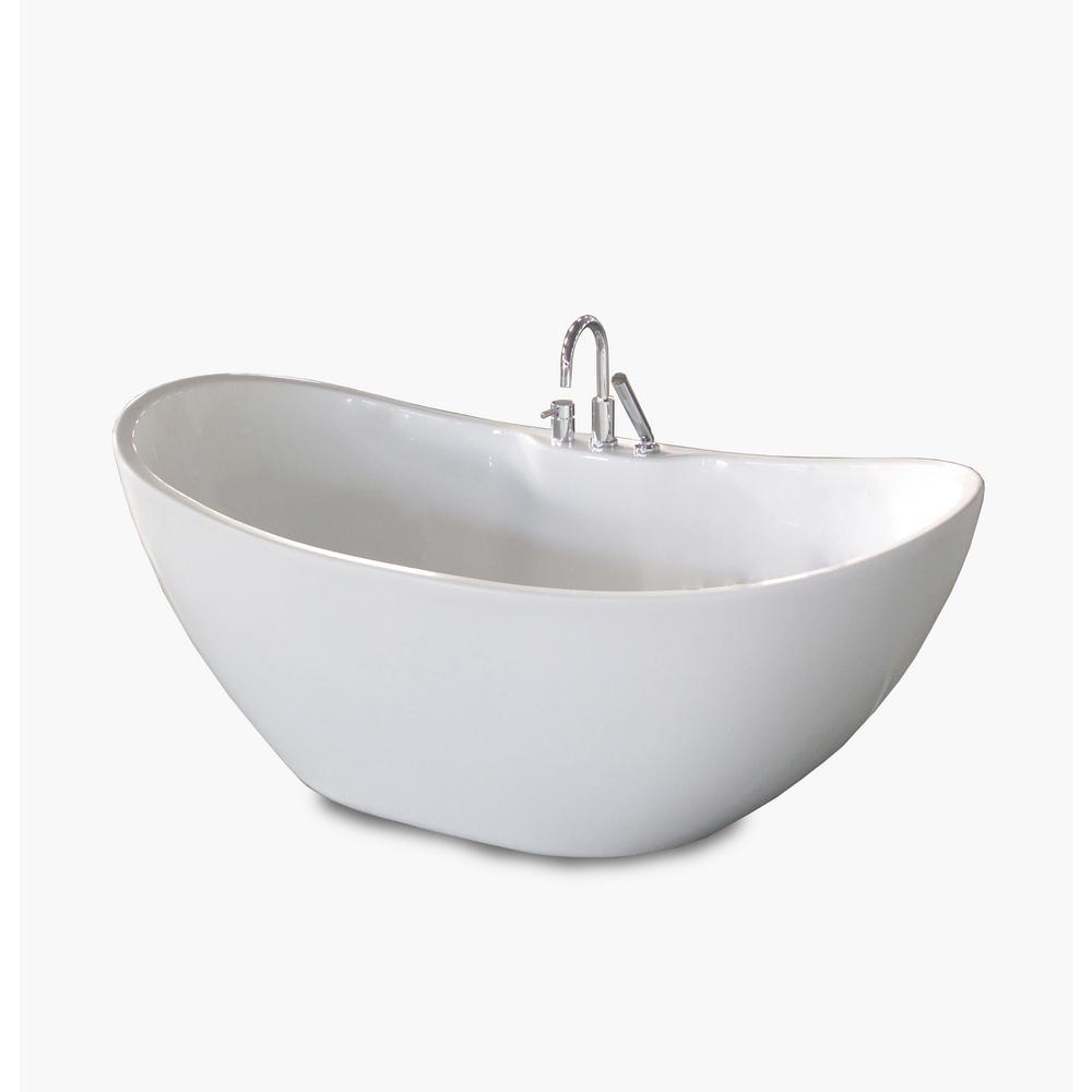 Attractive Acrylic Freestanding Flatbottom Non Whirlpool Bathtub In White All