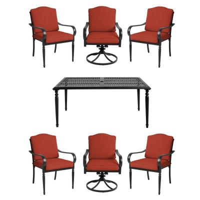 Laurel Oaks 7-Piece Brown Steel Outdoor Patio Dining Set with CushionGuard Quarry Red Cushions