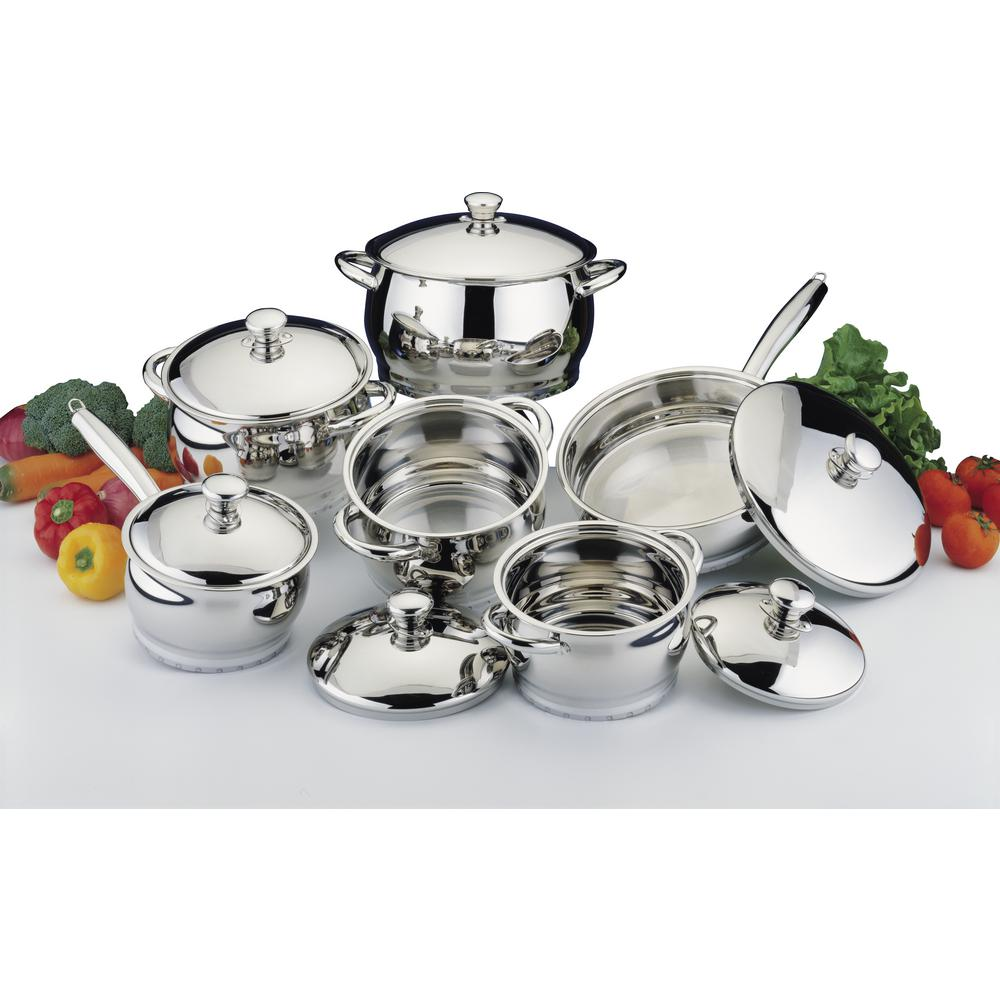 Cosmo 12 Piece 18/10 Stainless Steel Cookware Set With Lids, Silver