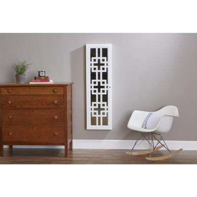 Modern Jewelry Armoire with Decorative Mirror - White