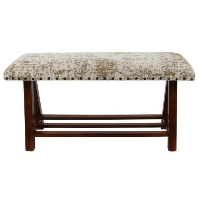 Rosanna 18 in. H x 34 in. W x 12 in. D Walnut and Cream Rug Upholstered Wooden Bench