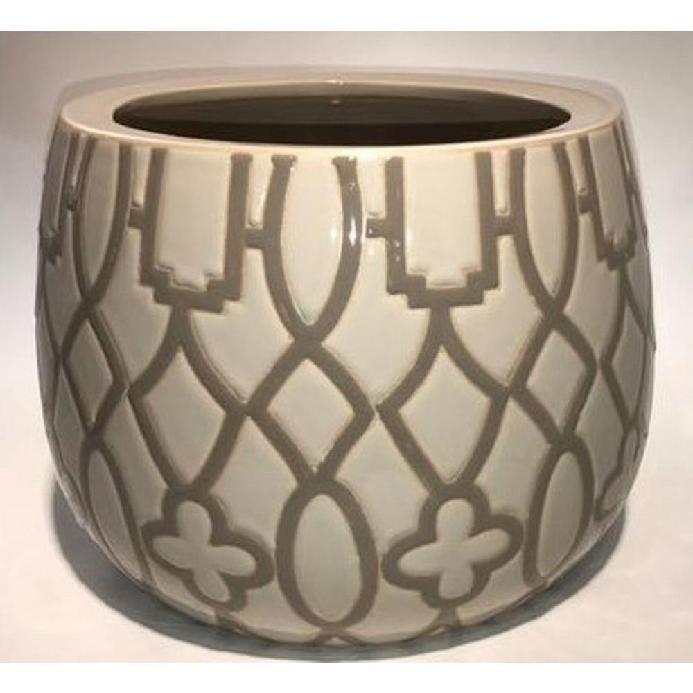 8.5 in. Tan Ceramic Arbor Pot