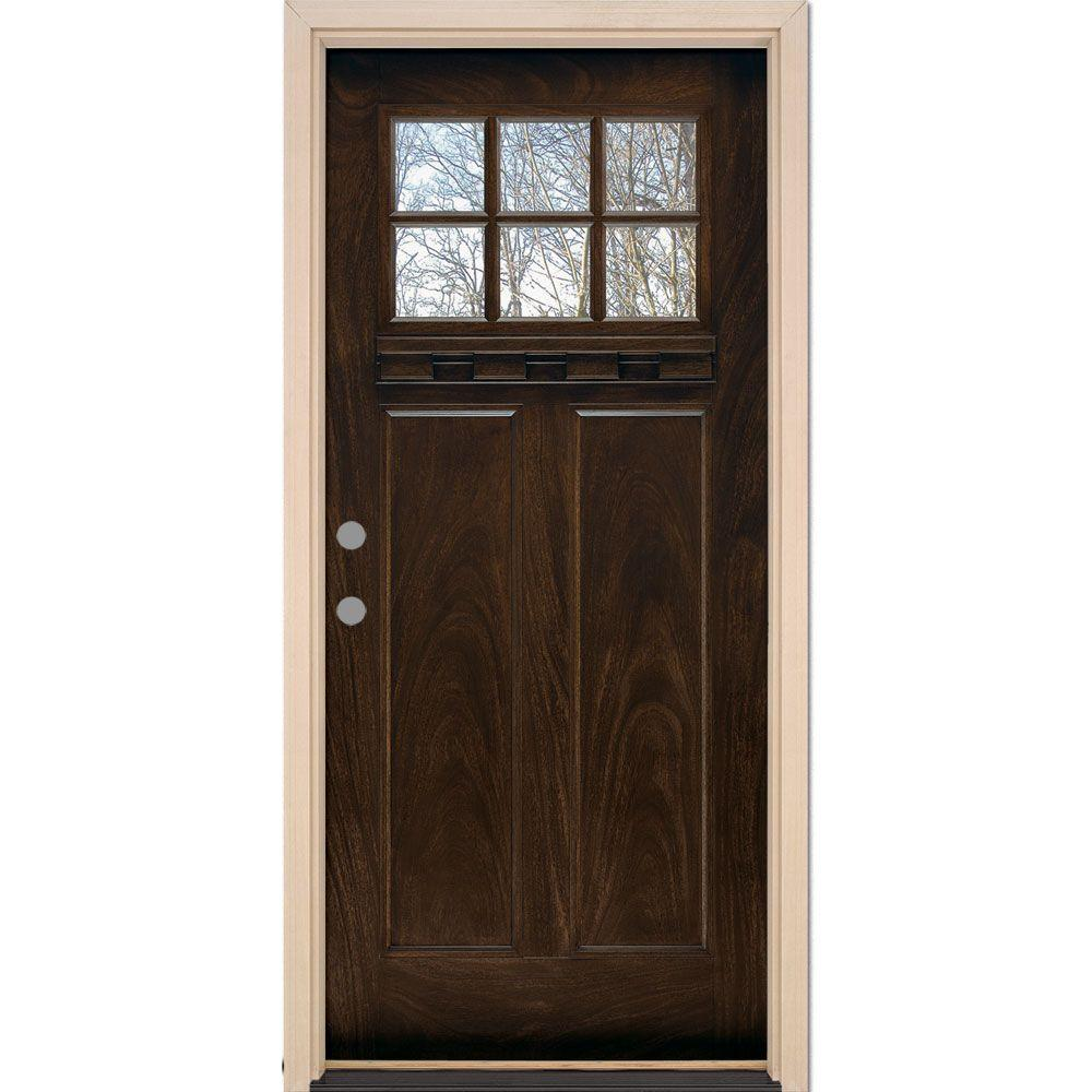 Feather River Doors 37 5 In X 81 625 6 Lite Craftsman Stained Chestnut Mahogany