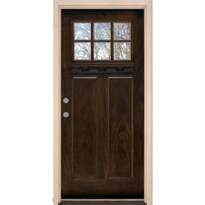 37.5 in. x 81.625 in. 6 Lite Craftsman Stained Chestnut Mahogany Right-Hand Inswing Fiberglass Prehung Front Door