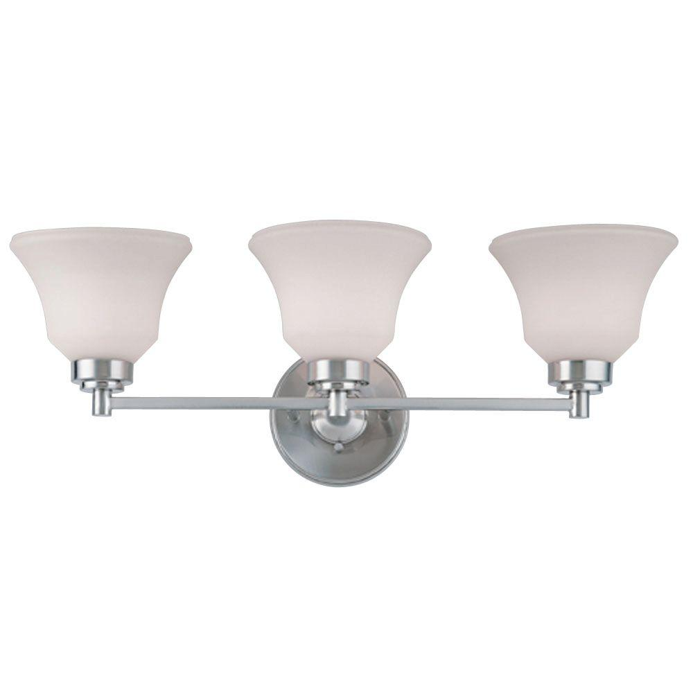 3-Light Brushed Nickel Interior Wall Fixture with Frosted White Opal Glass