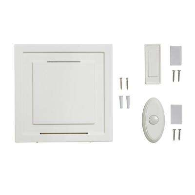 White 85 dB Wireless Battery Operated Door Bell Kit with 1-Push Button with White Wireless Door Bell Push Button
