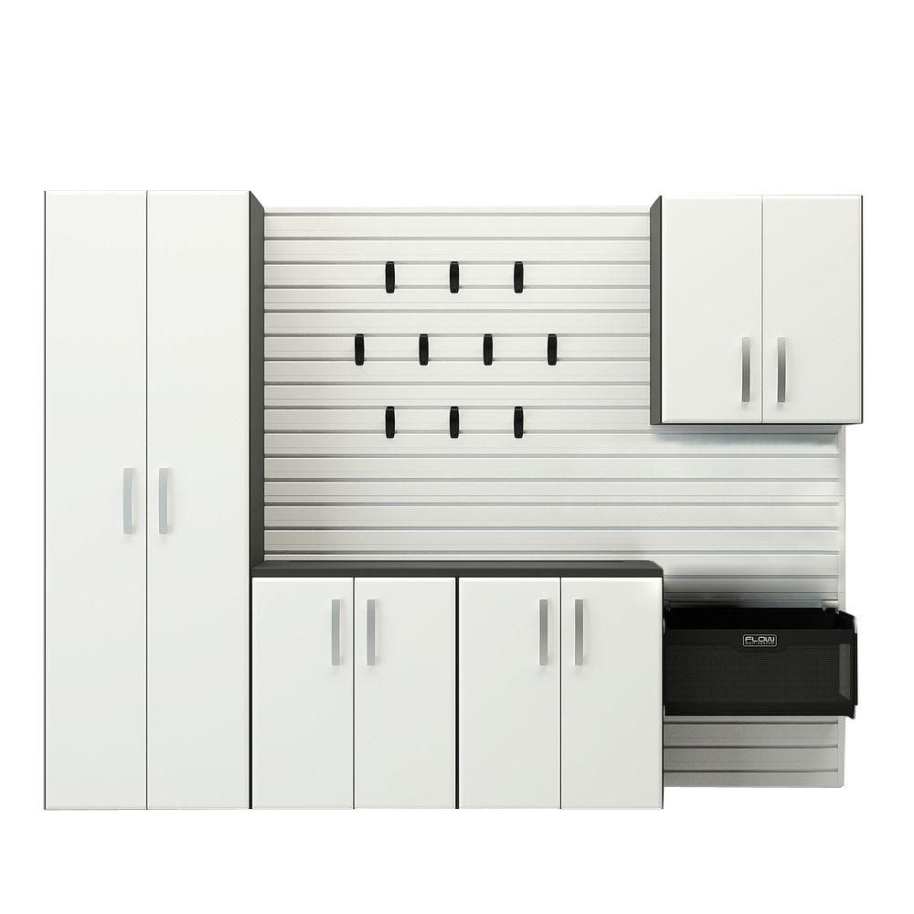 Modular Wall Mounted Garage Cabinet Starter Set with Accessories in White