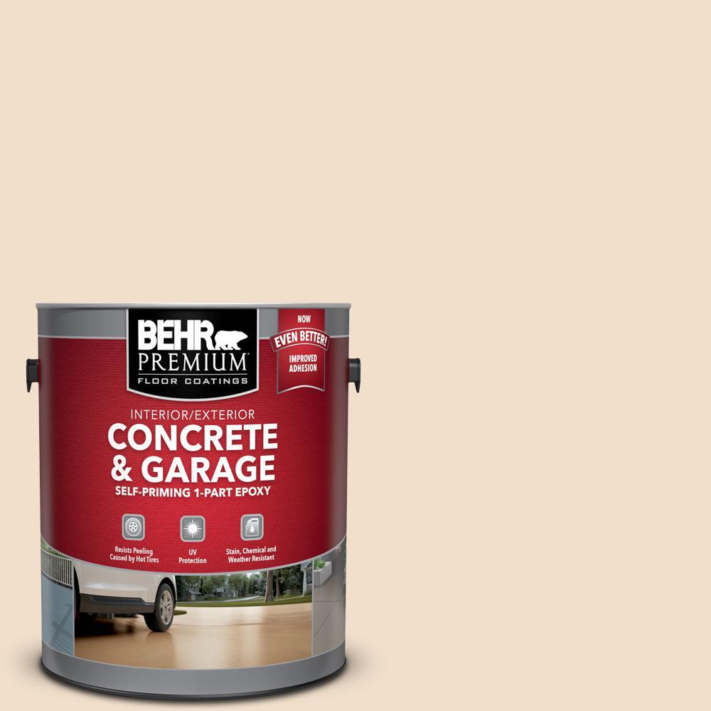 BEHR Premium 1 gal. #S250-1 Macaroon Cream Self-Priming 1-Part Epoxy Satin Interior/Exterior Concrete and Garage Floor Paint