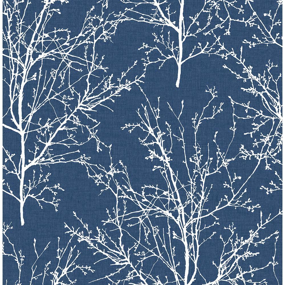 Tree Branches Coastal Blue Vinyl Peelable Roll (Covers 30.75 sq. ft.)