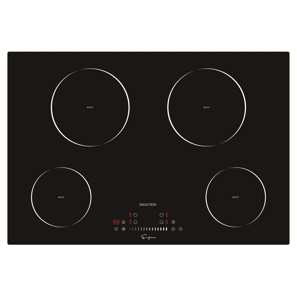 Empava 30 in. Electric Stove Induction Cooktop Smooth Surface in Black Vitro Ceramic Glass with 4 Elements Booster Burner Now you are cooking. The next high-end electric induction cooktop by Empava Appliances Inc., its the real secret weapon behind many great meals. Let this electric operated appliance give you the utmost in cooking flexibility and help you cook like a professional chef in your own home. Still hesitating. Check out the Empava gas cooktop and wall ovens as well. Color: Black.