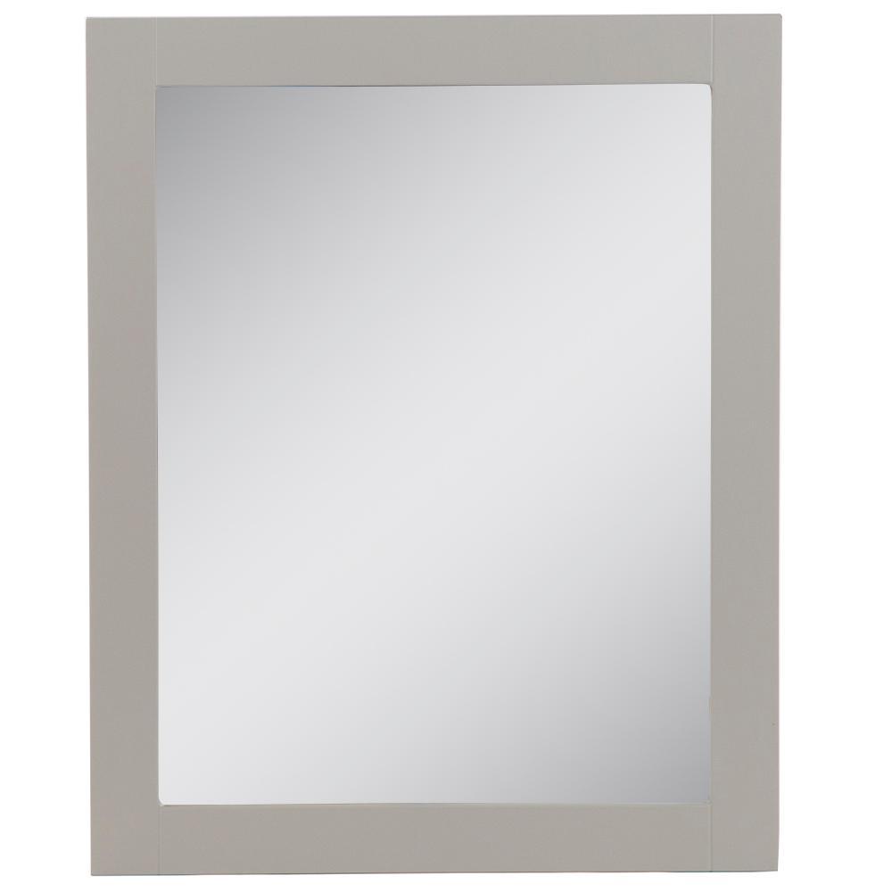 Del Mar 24 in. W x 30 in. H Single Framed Wall Mirror in Gray