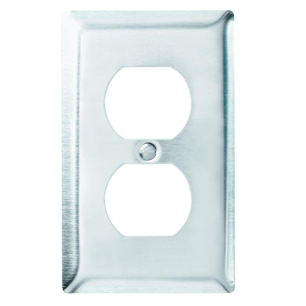 1gang 1 duplex outlet wall plate stainless steel