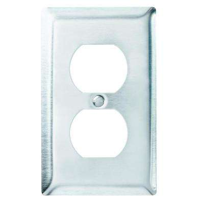 1-Gang 1 Duplex Outlet Wall Plate - Stainless Steel