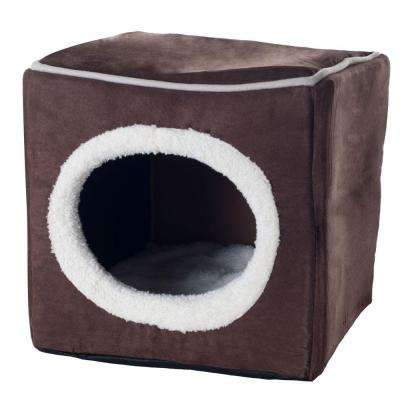 Small Dark Coffee Cozy Cave Enclosed Cube Pet Bed