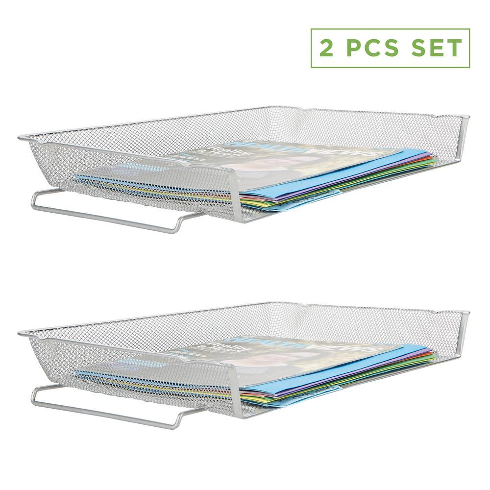 2 Piece Stackable Letter Legal Tray, Desk Organizer, Document Holder, Magazine Storage, Desktop File Organizer, Silver