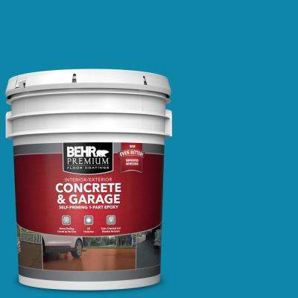 5 gal. #P490-6 Hacienda Blue Self-Priming 1-Part Epoxy Satin Interior/Exterior Concrete and Garage Floor Paint