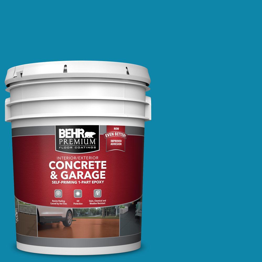 5 gal. #P490-6 Hacienda Blue 1-Part Epoxy Satin Interior/Exterior Concrete and Garage Floor Paint