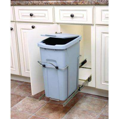 20 in. H x 10 in. W x 20 in. D In-Cabinet 35 Qt. Single Soft-Close Pull-Out Trash Can in Platinum