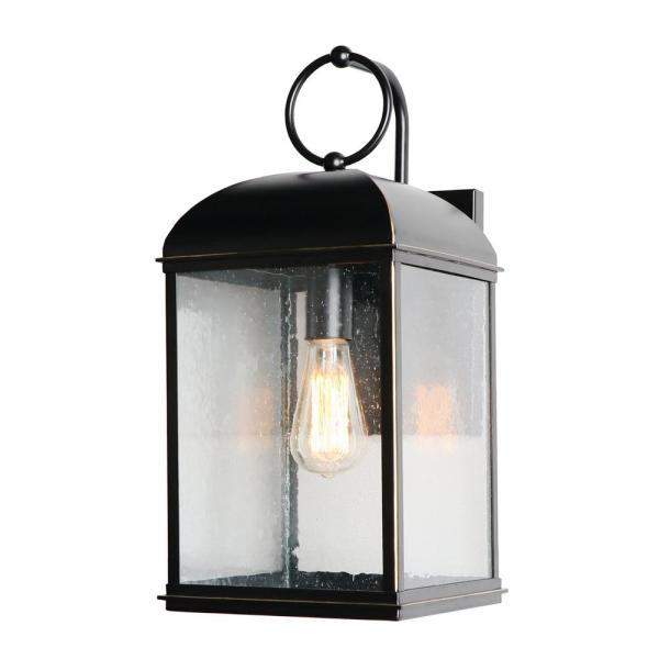 1 Light 18.6 in. Outdoor Imperial Black Wall Lantern Sconce