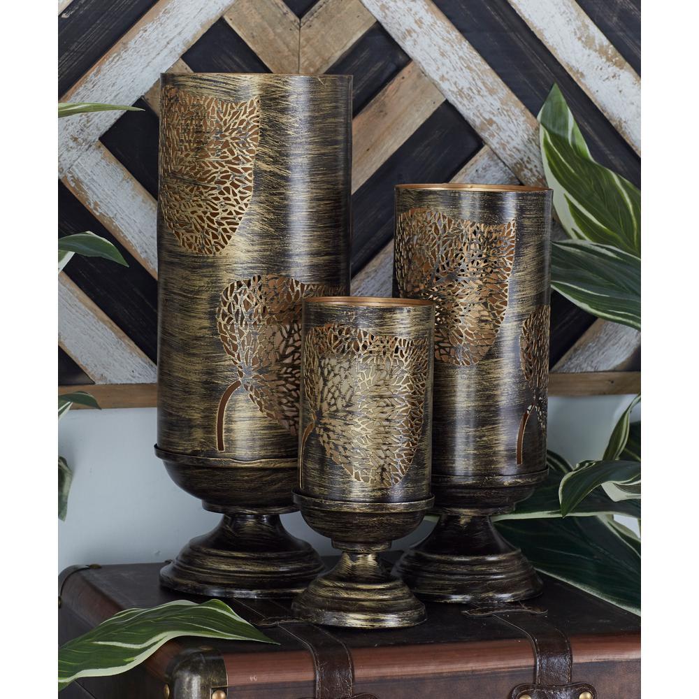 Brown Elm Leaf Candle Pedestal Holders (Set of 3)