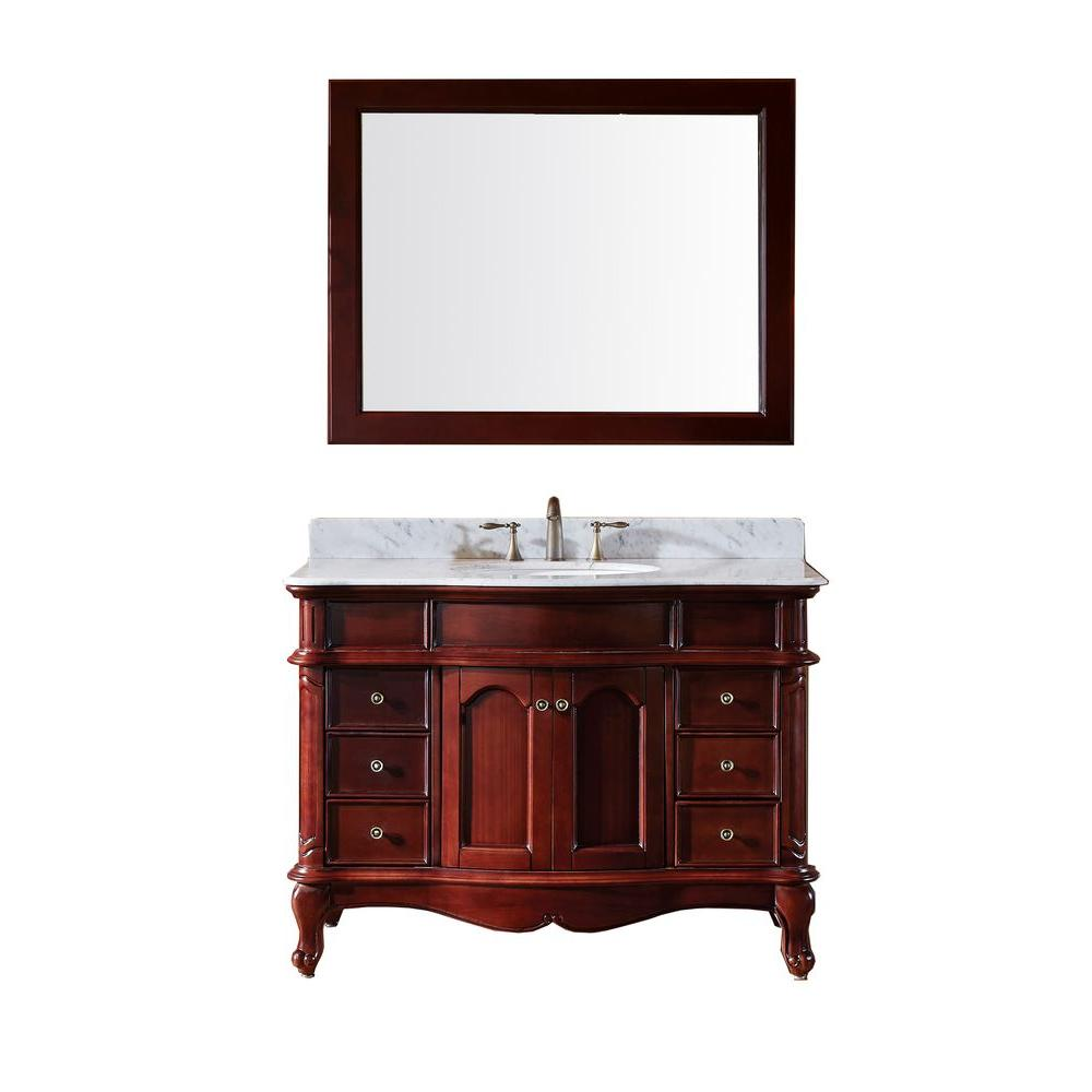 Virtu USA Norhaven 48 in. Vanity in Antique Cherry with Marble Vanity Top in Italian Carrara White-DISCONTINUED