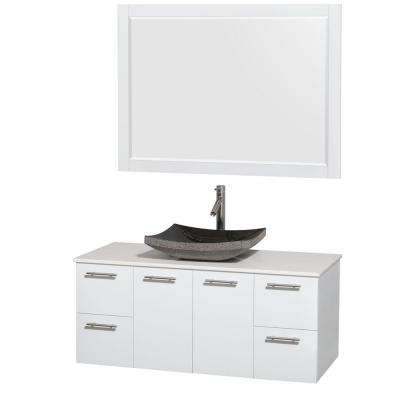 Amare 48 in. Vanity in Glossy White with Solid-Surface Vanity Top in White, Granite Sink and 46 in. Mirror
